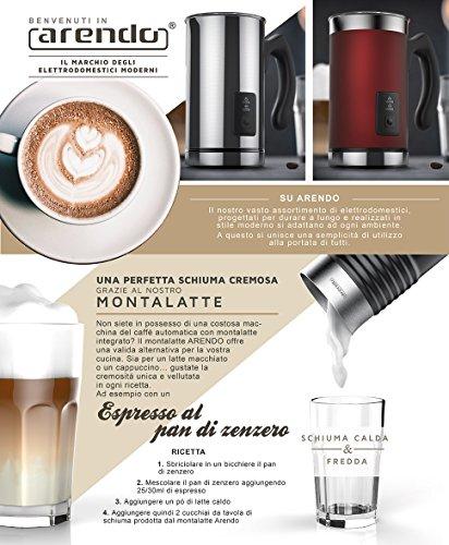 Arendo - Montalatte automatico Milk Frother acciaio inox | per latte caldo e freddo | 115ml | Spegnimento automatico | 20cm x 10cm | Colore Rosso - 2
