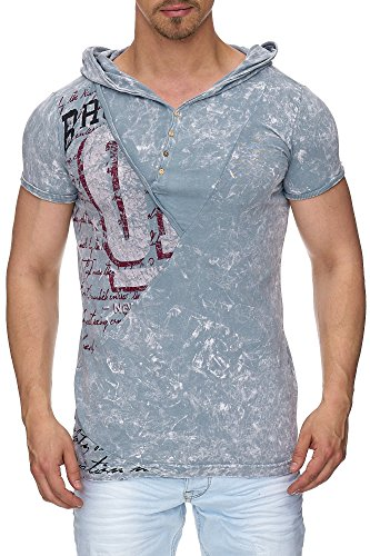 TAZZIO Herren Kapuzen T-Shirt Used-Look Shirt T-101 Grau