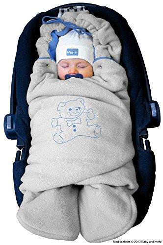 """ByBoom® – Baby Winter-Einschlagdecke """"Das Original mit dem Bären"""", Universal für Babyschale, Autositz, z.B. für Maxi-Cosi, Römer, für Kinderwagen, Buggy oder Babybett, Farbe:Grau/Blau"""