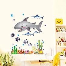 Wallpark Oceano Mundo Tiburón Mar Peces Mar Plantas Desmontable Pegatinas de Pared Etiqueta de la Pared, Bebé Niños Hogar Infantiles Dormitorio Vivero DIY Decorativas Arte Murales