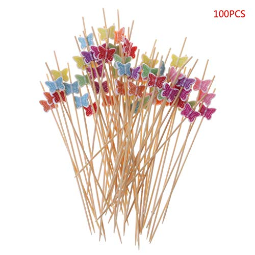 Gemüse-stick (Carry stone Cocktail Picks 100pcs 12cm Butterfly Food Picks Dessert Buffet Obstsalat Gabel Kuchen Muffin Party Gemüse Sticks Cocktail Zahnstocher)