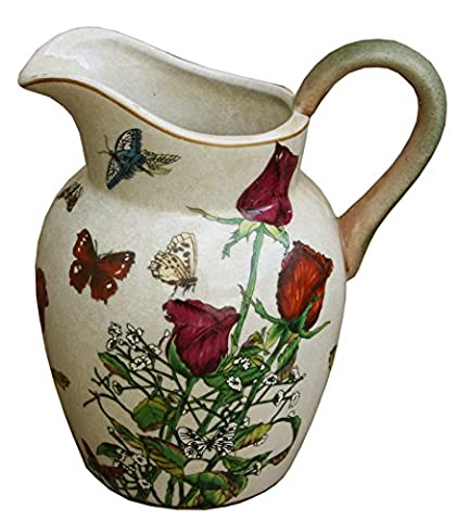 Decorative Earthenware Jug With Roses And