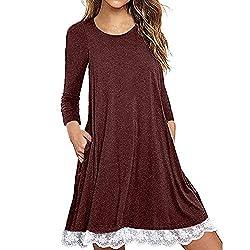 ESAILQ Damen Langarm Baumwollspitze T-Shirt Kleid mit Taschen(S,Rot)