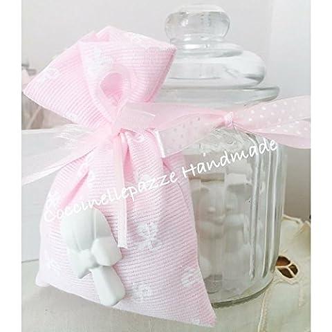 Bomboniera battesimo comunione vaso in vetro con gessetti profumati e con sacchetto portaconfetti con gessetti profumati - completo di confetti.