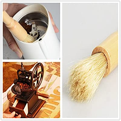 Coffee Grinder Brush Wooden Handle Coffee Cleaning Brush 7.5 inch Espresso Brush for Bean Grain Coffee Tool Barista Home Kitchen, 2 Pcs by DREAS