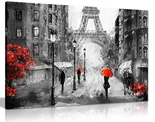 Schwarz-Weiß-Rot-Weiß-Bild von Paris Eiffelturm, aus Canvas Wall Art Print Bild, schwarz/rot/weiß, A2 61x41 cm (24x16in)