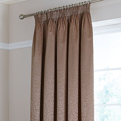 Catherine Lansfield Home Thermal Leaf Jacquard Woven Pencil Pleat Lined Curtains, Mocha, 90 x 90 Inch