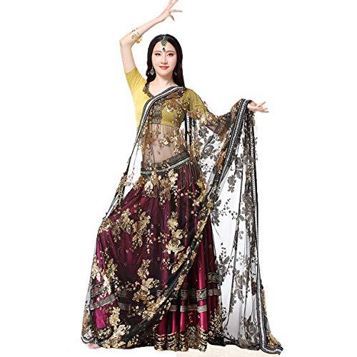 Rongg Bauchtanz Kleid Performance Kleidung für Frauen Indischer Sari Tanzrock Tanzwettbewerb Kostüm Satz 4 Stück, - Indische Zeitgenössische Tanz Kostüm
