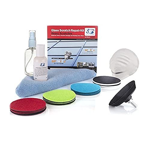 Glass Scratch Repair DIY kit, GP-WIZ System - REMOVES SCRATCHES, MINERAL DEPOSITS, WATER DAMAGE, SCUFFS AND ACID ETCHING - 3''75mm