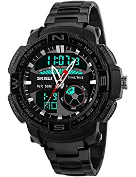 schwarze Uhr zwei Zeitzonen Quarz Analog mit LED-Digitalanzeige lässig Sportuhr übergroße Männer