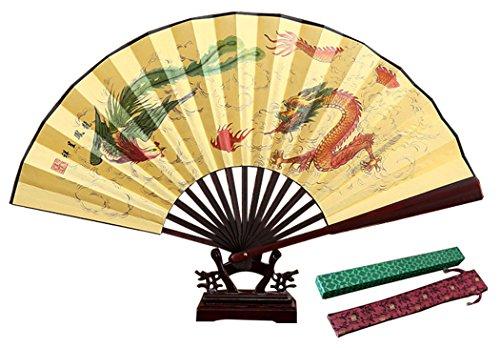 """HorBous Chinesischer klassischer Mannes handgemachter Silk Handfaltender Ventilator Bambushandventilator für Männer (13\"""", 10 Wahlen) (6#)"""