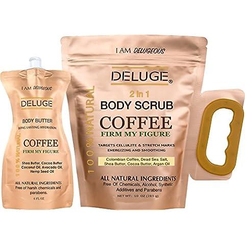 DELUGE - Exfoliante Organico de Cafe- Tonifica, Reduce la Celulitis 100% Natural 10 OZ ++ Locion Corporal Hidratante 6 OZ