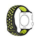 Apple Watch Correa, Sanday Silicona Suave Reemplazo de Banda Sport Band para Apple™ Watch Apple™ Watch Nike+,Series 1/Series 2,42MM M/L Negro/Voltio