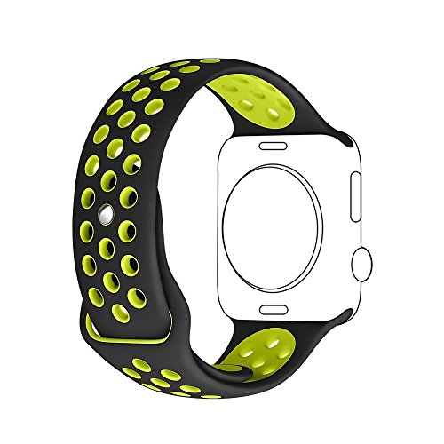 Apple Watch Correa, Sanday Silicona Suave Reemplazo de Banda Sport Band para Apple Watch Series 3,Series 1/Series 2,42MM M/L Negro/Voltio