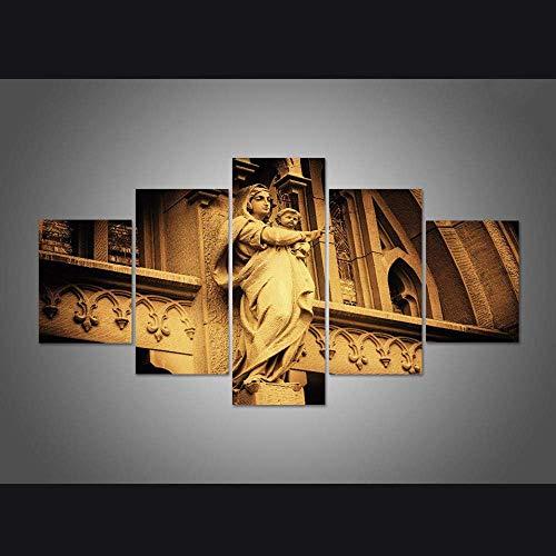 HUANGJB Decoración Moderna del Arte de la Pared del hogar 5 Paneles Virgen María con imágenes del bebé Arte HD Impreso Pintura al óleo sobre Lienzo Poster ArtworksB,Sin Marco