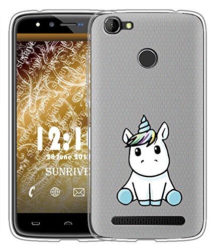 Für HOMTOM HT50 Hülle Silikon,Sunrive Handyhülle matt Schutzhülle Etui Case Backcover für HOMTOM HT50(tpu Einhorn 3)+Gratis Universal Eingabestift