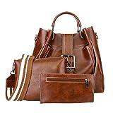 OYSOHE Damen Retro Pure Color Leder 3Pcs Tasche Schultertasche Handtasche + Umhängetasche + Brieftasche