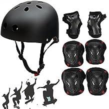 Casco de skate, SymbolLife BMX–Casco de patinaje casco Ultimate ciclo/bicicleta/skateboard, color  - Black(set), tamaño mediano