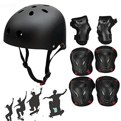 Skateboard Protektoren Set mit Helmet, SymbolLife BMX Helmet Knie Pads Elbow Pads mit Handgelenkschoner für Skate, Fahrrad, Skateboard, Roller Skate und anderen Extreme Sports, Größe M, Schwarz Skate Knie-pads Für Erwachsene