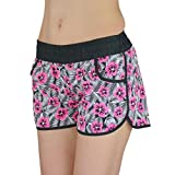 Badeshorts Damen Boardshorts Strandshorts Beach Shorts Kurz Lässige Sommershorts Hotpants (38 / M, Muster 2 - Blumen Rosa / Schwarz)