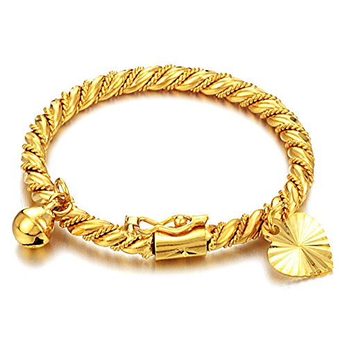 Fate Love Jewellery Childrens/Girls 18K Gold Plated Twist Bangle Bracelets with Heart and Bell Pendant