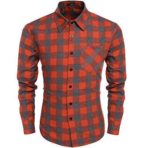 Coofandy Camisa de Hombre a Cuadros Grandes Manga Larga con Bolsillo Naranja XL