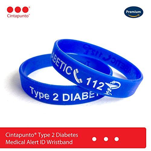 Cintapunto® Typ 2 Diabetes Armband Medizinische Armband (Blau)