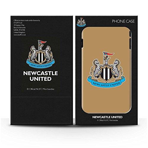 Offiziell Newcastle United FC Hülle / Matte Harten Stoßfest Case für Apple iPhone 8 / Mono/Schwarz Muster / NUFC Fußball Crest Kollektion Farbe/Gold