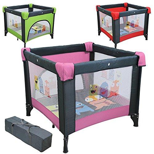 Monsieur Bébé ® Parque bebé plegable, corralito 90cm x 90cm con colchón + Bolsa de transporte - Tres colores - Norma NF EN12227