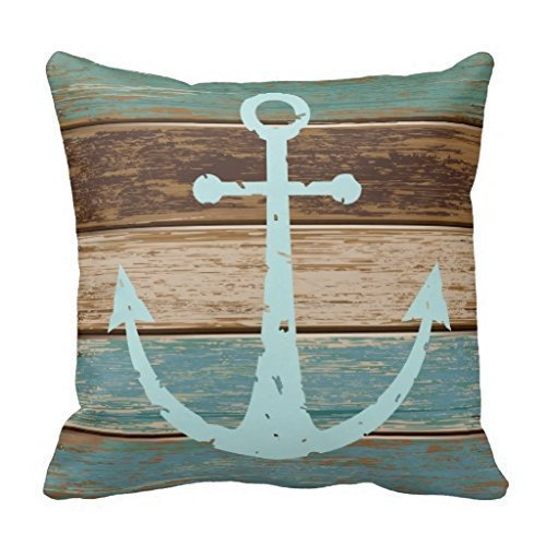 Nautical Bath (CBOutletArt Nautical Anchor Weathered Wood Coastal Themed Polyester #078 Cotton Linen Decorative Throw Pillow Case Cushion Cover 18*18 Inch)
