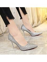 Presidente Carrera superficial zapatos de mujer boca hembra solo zapatos con punta fina, plata,34