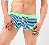 DHG Sommer-Farbe-Blockierung Gestreiften Herren Badehose, Neon Fluoreszierende Sexy Boxerstiefel, Professionelle Sport Badehose für Männer,Grün,L