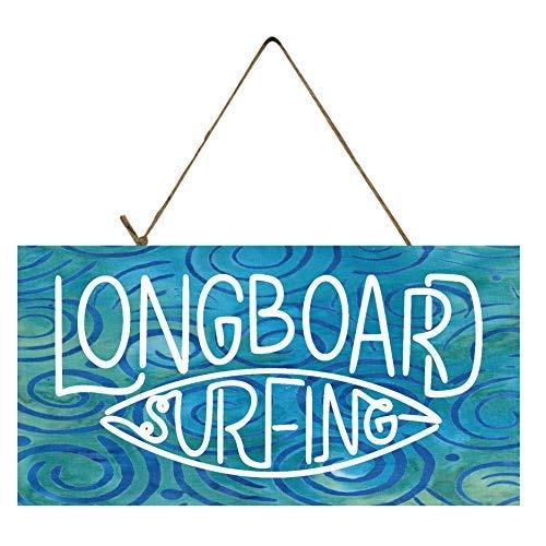 Ral454ick Longboard Surfing Holzschild, Bedruckt, 15,2 x 30,5 cm (Die Türen Longboard)