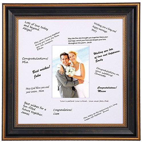 Space Art Deco Bilderrahmen mit goldfarbenem Design, für Hochzeitsunterschriften, für 12,7 x 17,8 cm große Bilder/Fotos, Staffeleiständer für Tischplatte, Sägezahnaufhänger, Wandhalterung, Glas 14x14 -