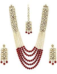 Mann Jewels Kundan Pearl Necklace, Earrings and Maang Tikka Jewellery Set for Women