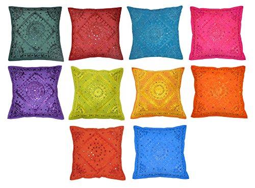 Indisches Kissen Werfen (Traditionelles Design Spiegel bestickt Sofa Kissenbezug indischen Werfen Kissen Cover 5PCS SET 40x 40cm)