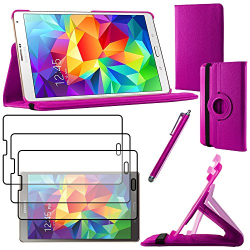 ebestStar - kompatibel Samsung Galaxy Tab S 8.4 Hülle SM-T700, SM-T705 Rotierend Schutzhülle Etui Ständer, Rotating Case Cover Stand + Stift +3 Schutzfolies, Lila [Tab: 212.8 x 125.6 x 6.6mm, 8.4'']