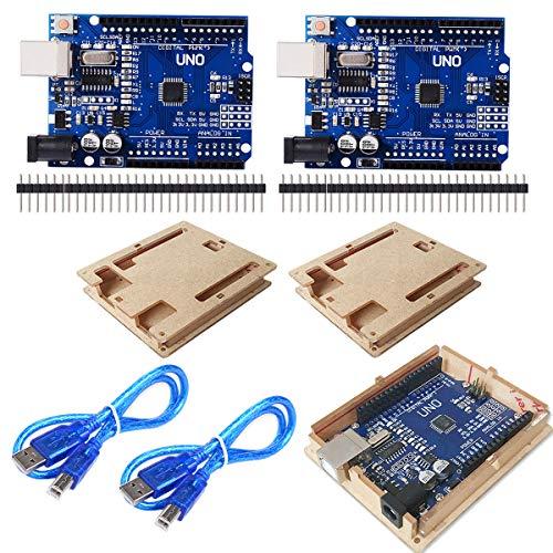 CMYKZONE 2 stücke UNO R3 ATmega328P CH340 Entwicklungsboard Kompatibel Arduino IDE + USB Kabel + Gerade Stiftleiste + Fall (Ein Stück Uno)