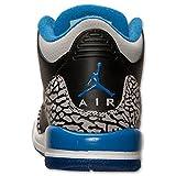 Nike Jungen Air Jordan 3 Retro BG Turnschuhe, Schwarz/Blau/Grau (Schwarz/Sport Blau-Grauer Wolf), 38 EU