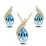#4: Nakabh Valentines Collection Elegant Sea Blue Austrian Crystal TearDrop Gold Plated Pendant and Earrings Combo For Girls and Women