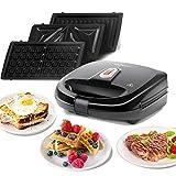 Aigostar Rubik 30JVU – 750W Black Sandwich Maker/Grill/Waffle 3 IN…