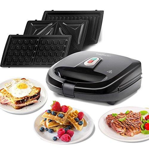 Aigostar Rubik 30JVU - 750W Black Sandwich Maker / Grill / Waffle 3 IN 1. Dimensioni compatte con sistema automatico termostatico, piastre antiaderenti e rimovibili. Design esclusivo Caratteristiche Tecniche:- Voltaggio: 220-240V- Frequenza: 50 ...