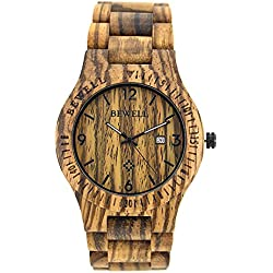 Bewell Wooden Watch Retro Style Perfect Match of Chinos HOT Quartz Watch with Gifted Box