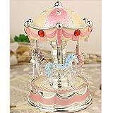 XuanMax Karussell Spieluhr 3 Pferd Spieldose Merry-Go-Round Spielzeug mit Nachtlicht to Alice Melodie Fur Weihnachts Valentinstag Geburtstags Geschenk - Pink