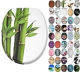 Abattant WC Frein de Chute Soft Close - Grande sélection - Finition de Haute qualité - Fixation Facile (Bambou Vert)