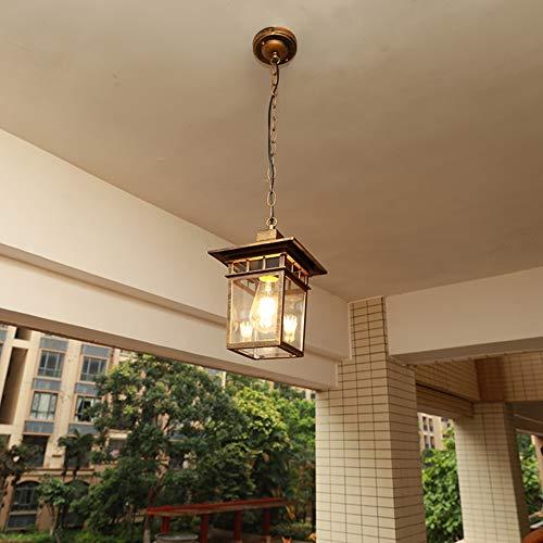 Pearl of the palm Außen Kronleuchter, wasserdichte Decke hängendes Licht, Hänge abwärts Traditionelle Außenleuchte mit LED Edison Glühbirne enthält für E27 Dekoration Beleuchtungskörper,Bronze -
