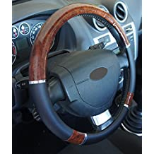 Funda para volante, universal y de excelente calidad, con aspecto de madera, para coche, antideslizante, con diámetro de 37a39cm + 1adhesivo de PC «Ricambi Auto Europa»