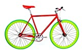 FabricBike-Fixie Bike, single speed fahrrad, fixed gear, red Hi-Ten steel frame, 10kg (Red & Green , M-53)