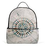 COOSUN Alte Weinlese-Seekarte und Kompass-Schule-Rucksäcke Bookbags für Junge Mädchen Teen Kinder Mittel Multi # 4