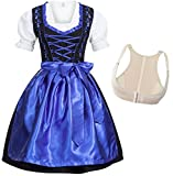 Dirndl Set Glossy Nero con ricamo blu scuro 4 pezzi: abito, blusa, grembiule e Reggiseno push-up Shaper Taglia 36 S